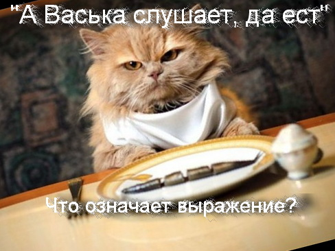 А Васька слушает, да ест что означает